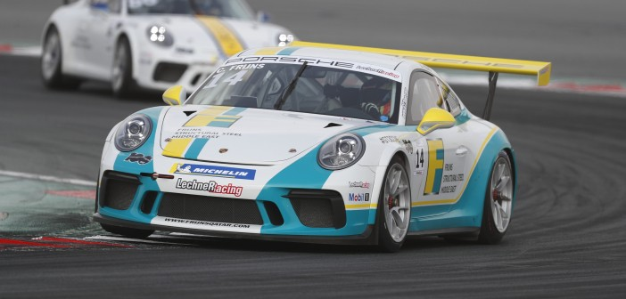 Charlie Frijns on track in Dubai during Round 2 of the Porsche GT3CCME